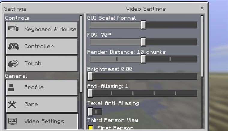 Настройки в Minecraft PE 0.16.0