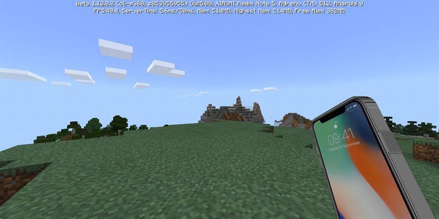 iPhone X в Minecraft Pocket Edition