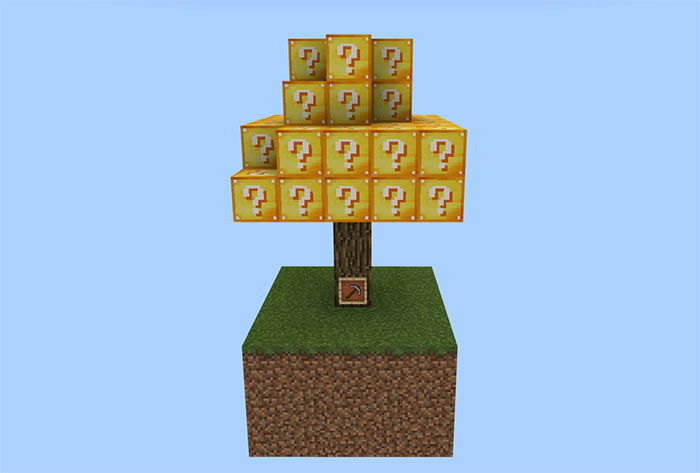 Счастливое дерево в выживание на острове майнкрафт ПЕ