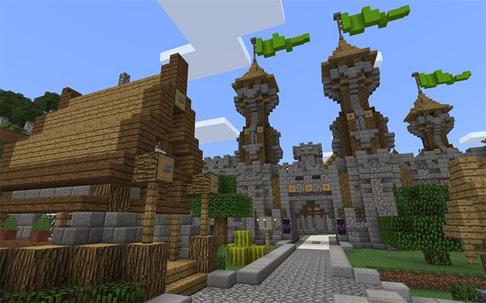 Средневековая деревня в майнкрафте