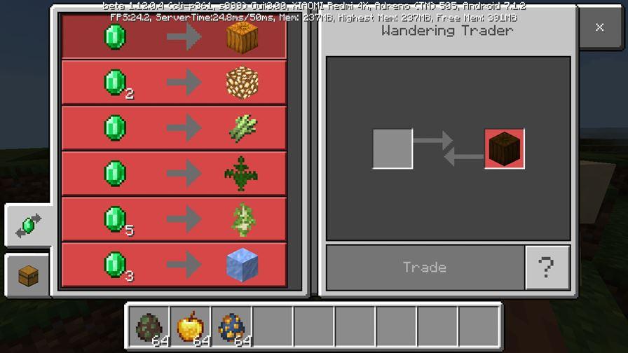 Странствующий торговец в MCPE 1.12.0.4