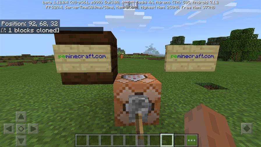 Клонирование блоков в MInecraft PE