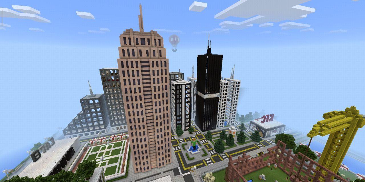 Город со школой в Minecraft Pocket Edition