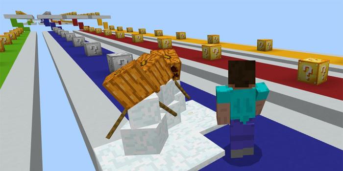 Модифицированная гонка с лаки Блоками в Minecraft Pocket Edition