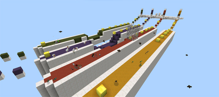 Гонка с лаки Блоками в Minecraft Pocket Edition