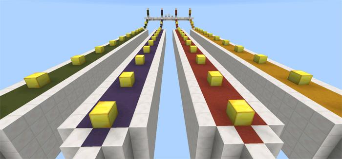 Лаки гонка с лаки Блоками в Minecraft Pocket Edition
