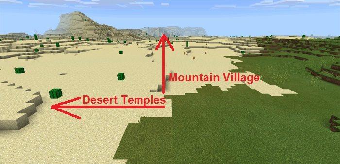 Направление движения в мире с сидом на Деревню в горах для Майнкрафт ПЕ