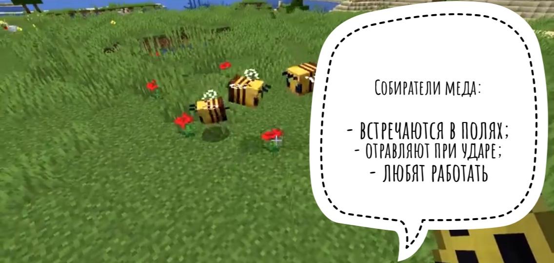 Где найти пчел в Minecraft 1.14.0.51?