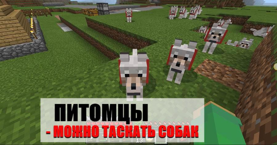 Переноска животных на Minecraft PE